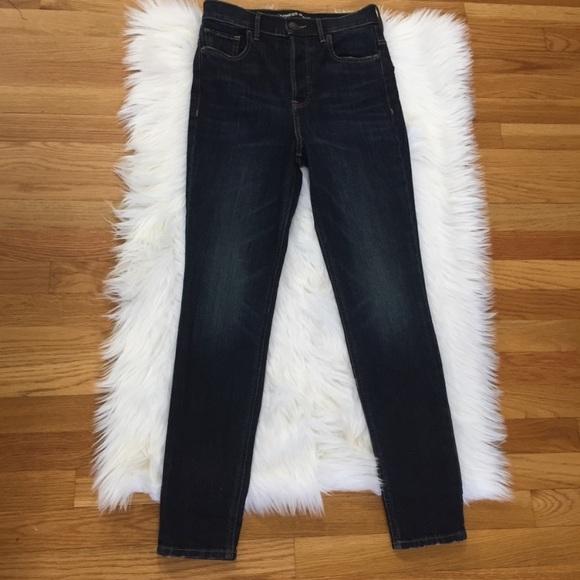 Express Dark Wash Super High Rise Jeans